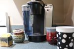 Decorative table on covered deck