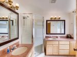 Large attached bathroom with double sinks