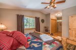 Luxury master bathroom has double sink granite countertop.