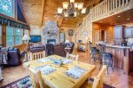Open Family Room/ Dining / Kitchen on Main Level of Cabin