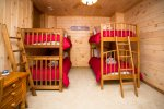 4 Twin beds in bunk room