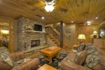 Terrace Level Family Room with Stacked Stone Fireplace