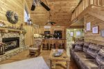 Wooden vaulted ceilings in family room