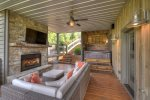 Terrace Level Outdoor Fireplace & Hot tub