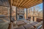 Lower Level Deck with Wood Burning Fireplace