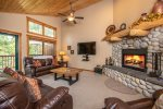 Living Room with Wood Burning Fireplace & DirecTV