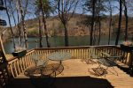 Enjoy the view of Bald Mtn. Lake while relaxing on the back deck