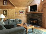 Dining area with wooded table and 8 chairs