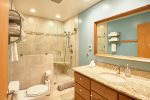 Newly remodeled bathroom with heated floors, custom shower, and granite