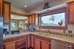Fully equipped Kitchen, mountain and water views