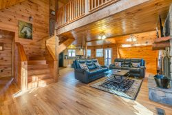 Private Custom Build Cabin with HUGE Hot Tub, Outdoor Fire Place & a Private Porch for Each Floor! Pet Friendly.