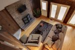 Looking down from upstairs into Living room