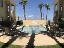 Gated ground floor condo. Sleeps 6, 2 bedrooms, ( king, 2 twins, sleeper sofa ) , 2 bathrooms. No pets allowed. Shared Pool,  CITY PERMIT # 2015-510349 NO ONE UNDER 35 IN MARCH