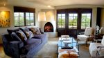 Comfortable living room with gas fireplace and views of the Sangre de Cristo mountains