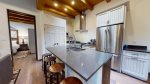 Granite counter tops and stainless steel appliances and fixtures