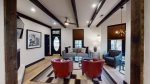 High ceilings and contrasting wooden beams
