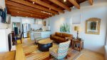 High exposed ceiling beams