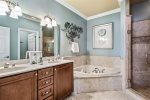 Dual vanity, private 3rd fl bath with walk-in shower and serarate tub