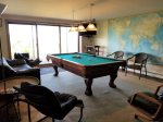 Lower level with pool table and flat screen tv