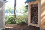 Wood shed for fireplace.