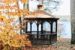 Private gazebo right on the water, great for all seasons.