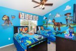 Delightful upstairs Toy Story-themed twin bedroom 3 with 32-inch LCD TV/DVD combo