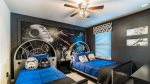 Star Wars themed bedroom with flat screen TV