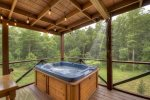 Shower and hot tub on back deck
