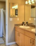 bathroom 2, off master with double sinks, and step up shower