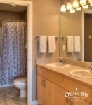 bathroom off bedroom with step up shower and bathtub