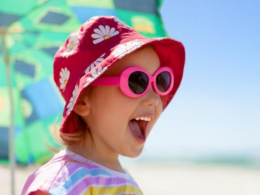 Little girl happy for vacation - layaway