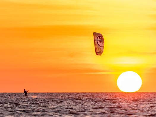 Sunset kiteboarding in Avon, NC