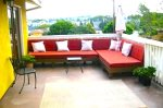 Lounge & BBQ with Sectional, City, Mountain & Pool Views on Large Decks and Private Patios w/Security Gate for Kids & Dogs