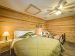 The upstairs Bunk Room has a bunk bed with full on the bottom and twin on the top.