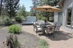 The stone patio with gas BBQ and Fire pit