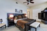 Master bedroom has a king size bed and enjoys a private balcony with gorgeous views of Galveston Bay
