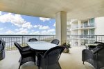 Beach balcony has amazing views and is large enough for dining and relaxing.