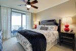 Master bedroom has a king size bed and enjoys access to the beach balcony.