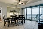 Dining area has marvelous views of the Bay and seating for 6.