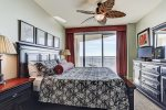 Master Bedroom has King size bed, beach balcony access and sunset views.