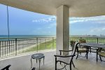 Large Gulf side balcony has endless views to the West of the Pleasure Pier, Gulf of Mexico and City lights at night