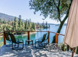 Beautiful lake views from decks, patios, and living room  and a private boat dock!