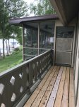 screened in porch overlooking lake
