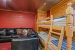 Lakeview - Beavers Bend Luxury Cabin Rentals - Downstairs Living Room - Twin Bunk Bed
