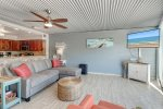 granite counter top, vanity, mirror, bath towels