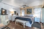 master suite king size bed, saltillo tile, HD television, ceiling fan, night stand, dresser