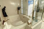 Master en-suite double Jacuzzi style hot tub with shower