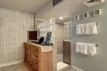 Stunning cabinets and matching appliances with tasteful beach decor