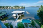 Dock, Outdoor Pool and Hot Tub at Waters Edge
