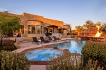 Private backyard with tons of amenities